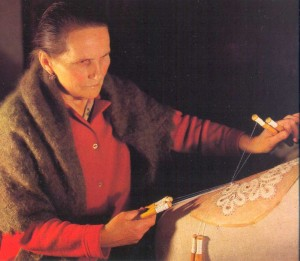 Eldest Vologda lace maker Nina Vasilyeva