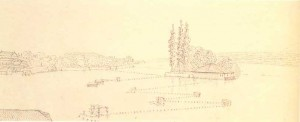 Geneva. 1821. Ink on paper. 7.5x17.9. From sketchbook of the journey to Switzerland and Ger­many. State Public Library.