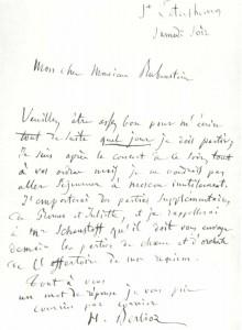 H. Berlioz's letter to N.G. Rubinstein