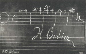 H. Berlioz's autograph on the blackboard