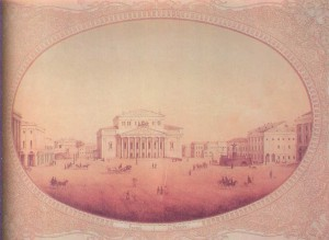 the Bolshoi Theater (centre) and the Maly Theater (the 1860s)