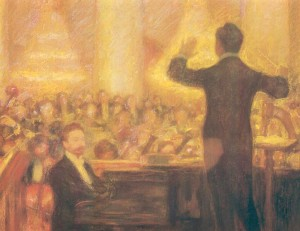A. N. Skrabin playing his poem Prometheus with orchestra conducted by S.A. Koussevitzky