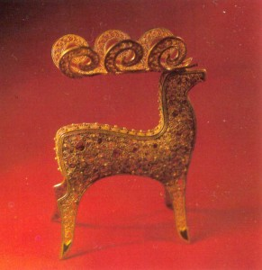 Filigree metal figurine of a deer