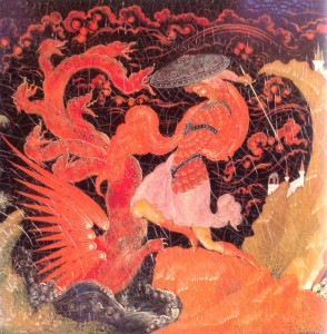 Detail of the casket Fighting with a Dragon.
