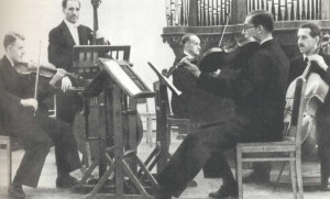 "At the concert in the Small Hall, featuring F. Schubert`s ""Forellen"" Quintet. Professors of the Conservatoire: D.M. Tsyganov, I.F. Gertovich, K.N. Igumnov, S.P. and V.P. Shirinskys (1930)."