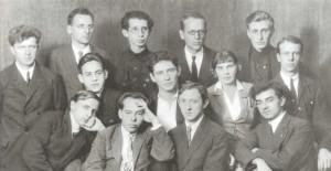 First row: M.V. Koval, D.A. Rabinovich, V.A. Bely, D. Gachev. Second row: Yu. V. Keldysh, L.N. Lebedinsky, S.A. Krylova, L.L. Kaltat. Third row: A. A. Davidenko, A.A. Solovtsov, S.I. Korev, N. Ya. Vygodsky, B.S. Stinpress (1927)