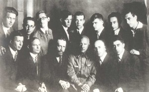 N. Ya. Myaskovsky, N. S. Zhilaev ahd H.I. Litinsky with thair pupils. Sitting are: Yu. M. Yatzevich, V.Ya Shedalin, N. Ya Myaskovsky,  A.I. Khachaturyan. Standing are: B.N. Mokrousov, A.E. Spadavekkia, Yu. M. Alexandrov, G.V. Kirkov, T.N. Khrennikow, S.Ya. Urbach, S.Z. Sendereti