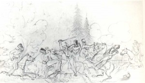 Encounter of French cuirassiers and mounted chasseurs.