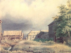 The Dulebino country estate. 1852. Water-colour on paper