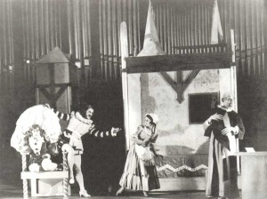 """Scene from Mozart`s """"Le Nozze di Figaro"""" perfomance of the Conservatooire opera studio (1933)."""