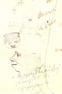 Portraits of A. Grigoryev; man wearing a night cap. Drawings in the draft of the short story