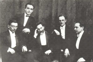 Together with his pupils. B.E. Khaikin, A.M. Braginsky, K.S. Saradzhev, Yu. M. Timofeyev, L.M. Ginzburg