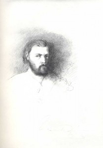Y. Polonsky. Self-portrait. 1862. Pencil on paper. 26.2x21.2. From Y. Polonsky's skctchhook.