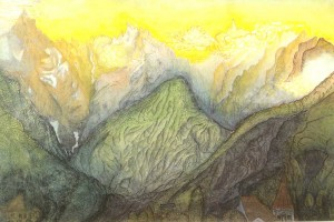 Kodzhory. (Veriyskoye Canyon). 1929. Pencil and watercolour on paper.