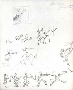 """Second-phrase gesture"". Sketch of illustration to the hook ""Gogol's Artistry"". 1932"