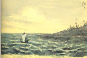 M.Lermontov (1824-1841). A lonely sail. 1828-1832. Watercolour on paper.