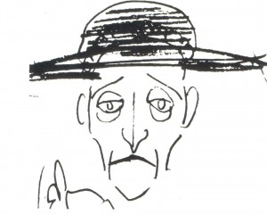 A caricature of A. Blok