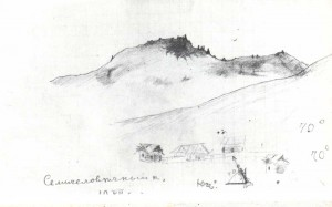 A Uralian landscape. Drawing in a notebook.