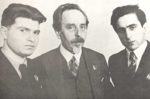 E.G. Gilels and Ya.I. Zak, winners of the International Piano Competitions in Vienna and Brussels (1938). In the centre is S.Ye. Feinberg (1936)