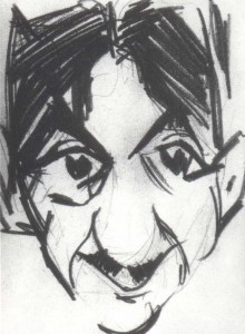 Caricature of G. Yakulov. 1918 ('.'). Pencil on paper. 17X 10.7. Deposited in a private collection