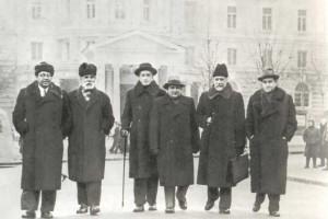 L.N. Oborin, A.F. Goedicke, K.N. Igumnov, V.Ya. Shebalin, N. Ya. Myakovsky and D.F. Oistrakh.