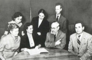 Chair of History of Foreigen Music (1965). Sitting are: N.S. Nicholayeva, T.E. Tsytovich, R.I. Gruber, I.V. Nestyev. Standing are: I.R. Eolyan, S.N. Pitina