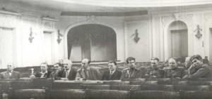 In the centre are N.P. Anosov and D.D. Shostakovich.