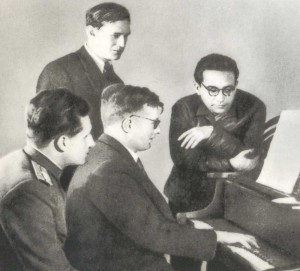 D.D. Shostakovich at the lesson with his pupils Yevgeny Petrvich Makarov, German Germanovich Galynin and Kara Karayev.