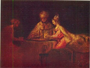 Rembrandt, Ahasuerus, Haman and Esther