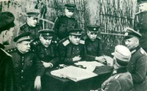 V. E. Makarov, A. M. Vasilevsky, I. D. Chernyakhovsky, F. Y. Falaleyev
