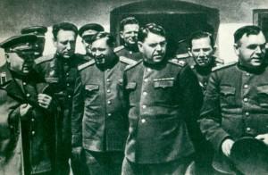 K. E. Voroshilov, S. S. Biryuzov, F. I. Tolbukhin, K. S. Melnik, A. M. Vasilevsky, M. M. Potapov, F. Y. Falaleyev
