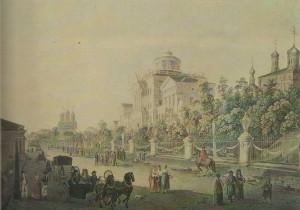 """Pashkov House"" in Moscow. Architect Vasily Bazhenov. 1784-1786 years. An engraving of the original J. Delabarta. 1790."
