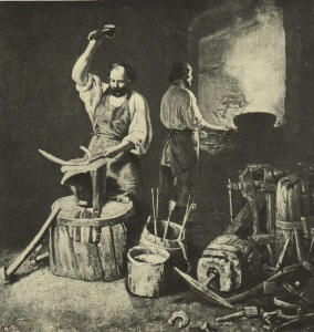 In the smithy. Artist L.Plahov. 1845