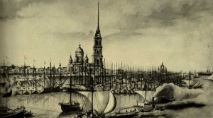 Rybinsk wharf on the Volga. An engraving from the original V. Belonogova. 1850
