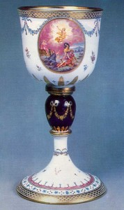 Late 1700s or early 1800s Milk and violet glass with gildinj, silver and enamel decoration Bakhmetyev Glasshouse History Museum, Moscow