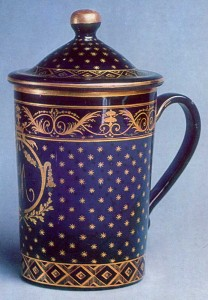 Late 1700s Violet glass with gilded decoration St. Petersburg Imperial Glass Factory History Museum, Moscow