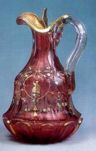1850s Colourless glass and gold ruby glass with gilded decoration and enamelling; silver cover St. Petersburg Imperial Glass Factory History Museum, Moscow