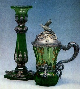 1850s Uranium glass with facet-cutting and gilded decoration; silver mounts by Frederik Bjork St. Petersburg Imperial Glass Factory