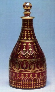 Gold ruby glass with gilded decoration St. Petersburg Imperial Glass Factory History Museum, Moscow