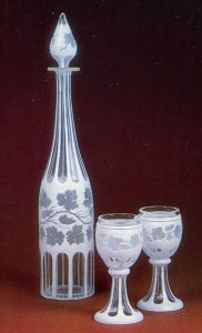 Colourless and milk glass with facet-cutting and engraving St. Petersburg Imperial Glass Factory History Museum, Moscow