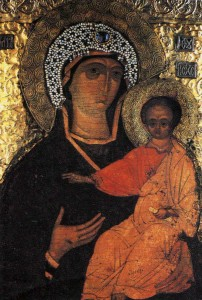 The image of Our Lady Protectress - private chapel icon of St. Sergius second half of XIV century.