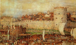 The Moscow Kremlin with Dmitry Donskoy. Artist A. Vasnetsov. 1922