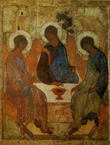 "St. Andrei Rublev. Old Testament Trinity. Written for the Trinity Cathedral Trinity-Sergius Lavra, ""in praise of the"" Reverend Sergius."