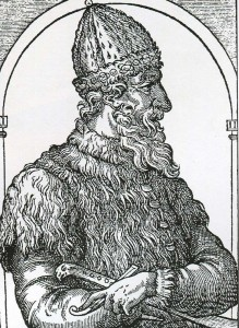 "Ivan III engraving of the ""Cosmography"" A. Teve. In 1584."