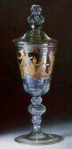 1750s Colourless glass with facet-cutting, engraving, gilding and niello St. Petersburg Glass Factory History Museum, Moscow