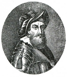 XIX century engraving of a portrait of the XVII century.