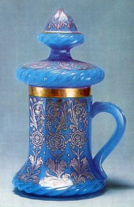 1860s Light-blue smalt glass, with silver decoration and enamelling Bakhmetyev Glasshouse History Museum, Moscow