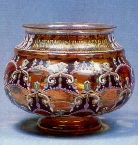 1890s Yellow glass with lustre painting and enamelling Diatkovo Glassworks History Museum, Moscow