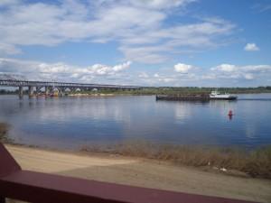 Volga River. Karabl and bridge.
