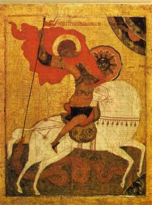 George. Ikona.XIV in. Paintings in the Church of the Nativity of the Virgin in Feropontove.